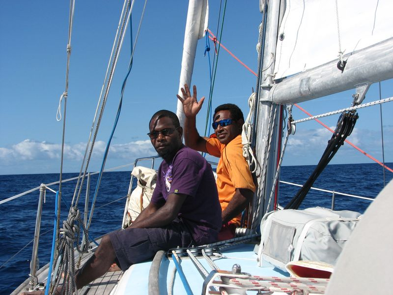 Mr Benson and Mr Ivan, teachers from Sangalai School in the Maskelynes sailing to Port Vila 2010