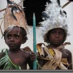 Children in kastom dress during a village celebration