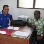 George Regenvanu & Lambert Maltock, Head of Social Responsibility and President respectively of the Vanuatu Football Federation