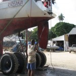 Rireana after a season's work - hauling out at Port Vila Boatyard
